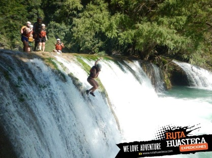 waterfall jumping in Mexico