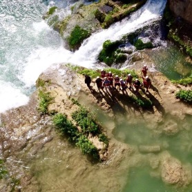 waterfall jumping in Mexico from drone